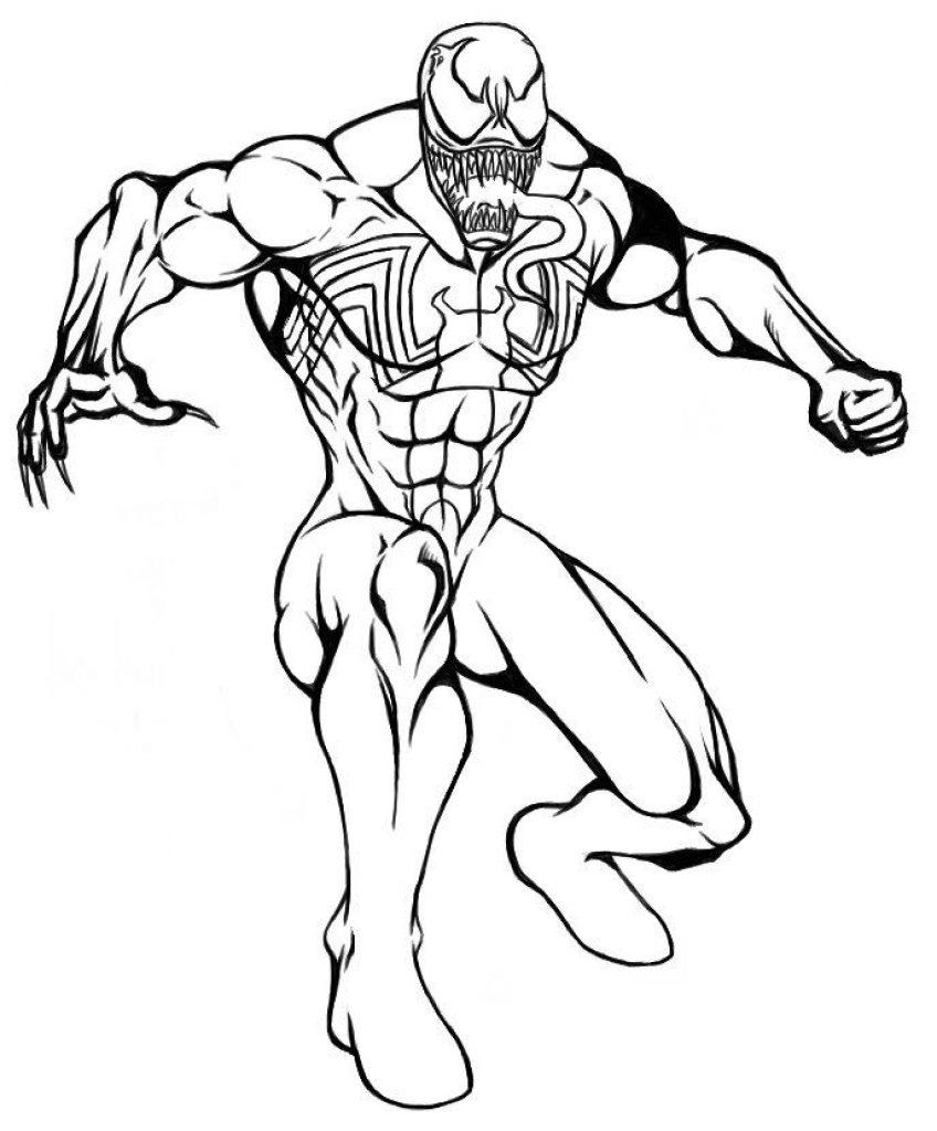 Раскраски Супергерои Марвел для мальчиков «Веном», чтобы распечатать
