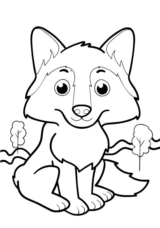 Раскраски животных для маленьких детей «Волчонок», чтобы распечатать и раскрасить онлайн