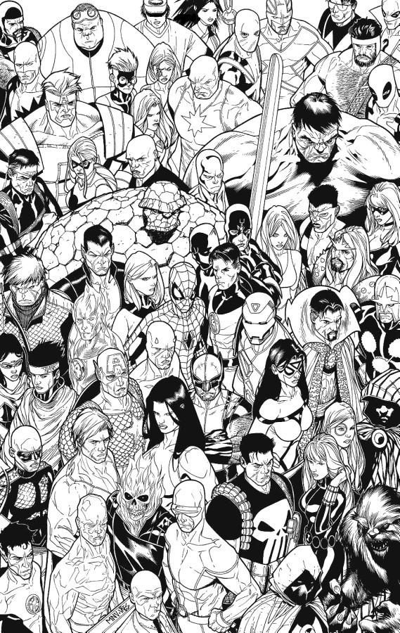 Раскраски супергерои для мальчиков «Все супергерои марвел», чтобы распечатать