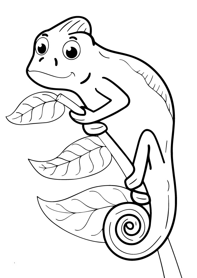 Раскраски животных для маленьких детей «Хамелеон», чтобы распечатать и раскрасить онлайн