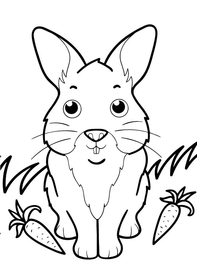 Раскраски животных для маленьких детей «Зайчик», чтобы распечатать и раскрасить онлайн