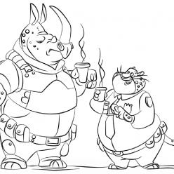 Раскраски из мультфильма «Зверополис» Офицер Когтяузер и Мак Рог, чтобы распечатать