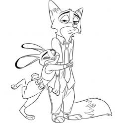 Раскраски из мультфильма «Зверополис» Крольчиха и Лис, чтобы распечатать