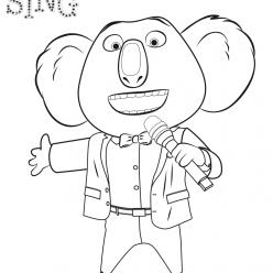 Раскраски из мультфильма Зверопой «Коала Мистер Мун», чтобы распечатать
