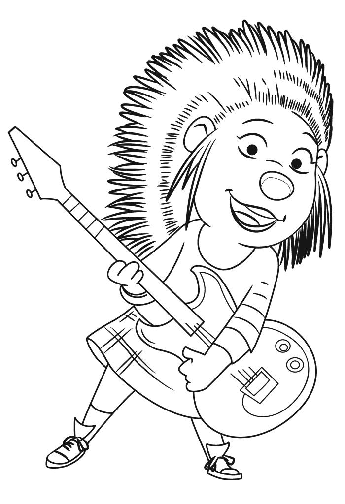 Раскраски из мультфильма Зверопой «Дикобраз Эш», чтобы распечатать