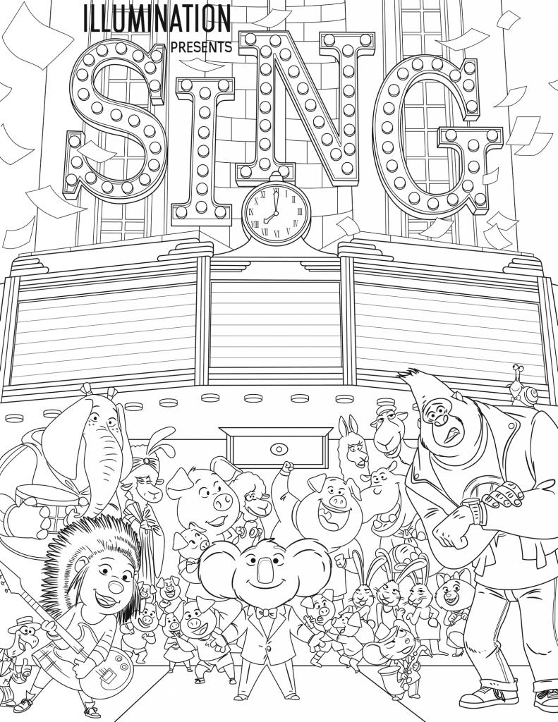 Раскраски из мультфильма Зверопой «Все участники конкурса», чтобы распечатать