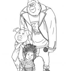 Раскраски из мультфильма Зверопой «Джонни, Эш и Розита», чтобы распечатать