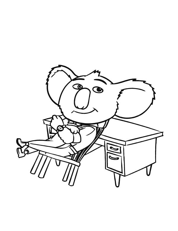 Раскраски из мультфильма Зверопой «Бастер Мун», чтобы распечатать