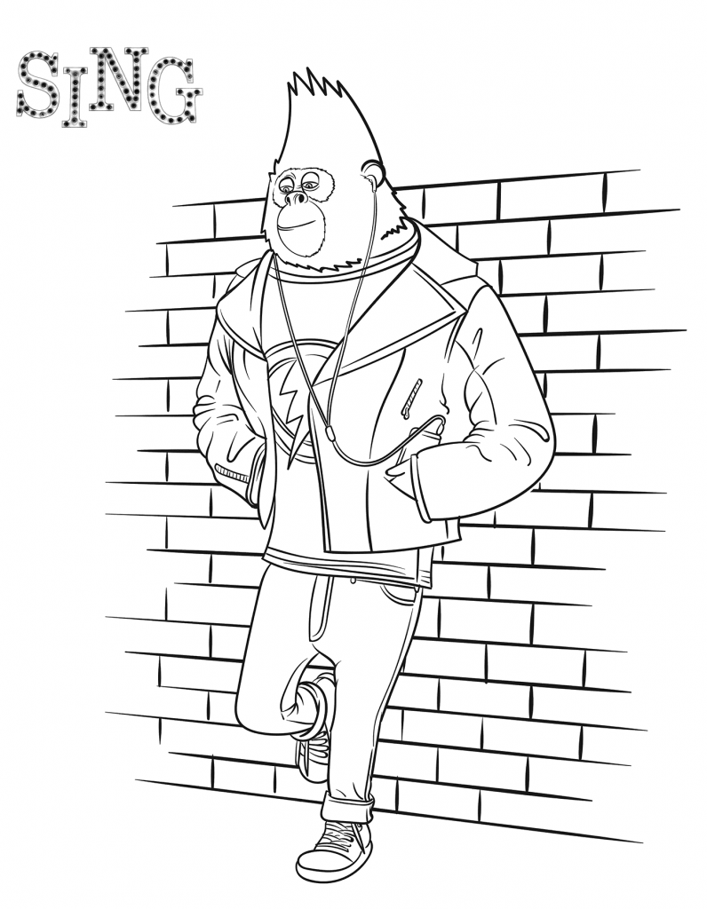 Раскраски из мультфильма Зверопой «Горилла Джонни», чтобы распечатать
