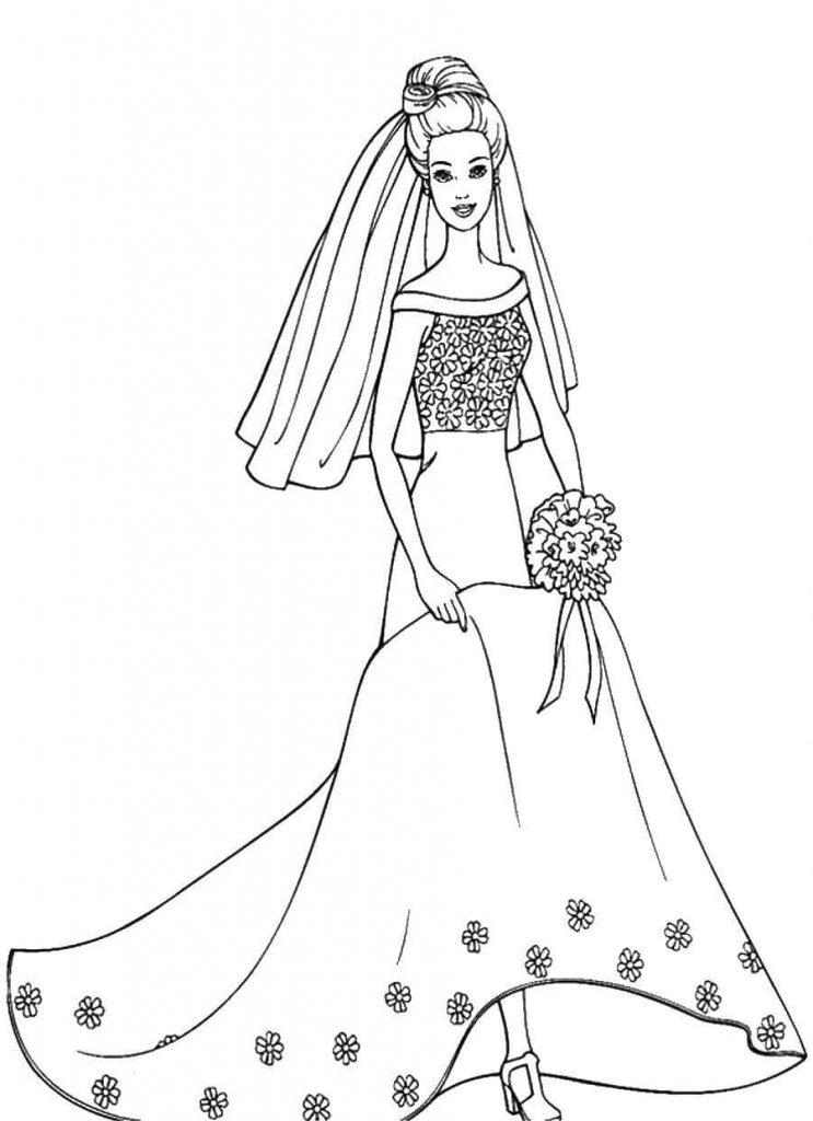 Раскраски «Барби невеста» для девочек, чтобы распечатать в хорошем качестве