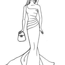 Раскраски «Барби в вечернем платье» для девочек, чтобы распечатать в хорошем качестве