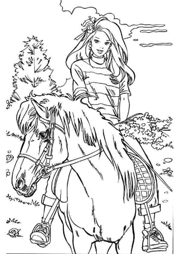 Раскраски «Барби с цветами на лошади», чтобы распечатать в хорошем качестве