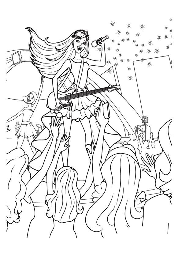 Раскраски «Барби рок-певица на сцене», чтобы распечатать в хорошем качестве