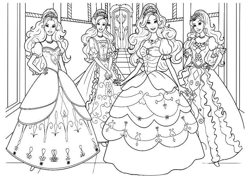 Раскраски «Барби с подружками на балу», чтобы распечатать в хорошем качестве