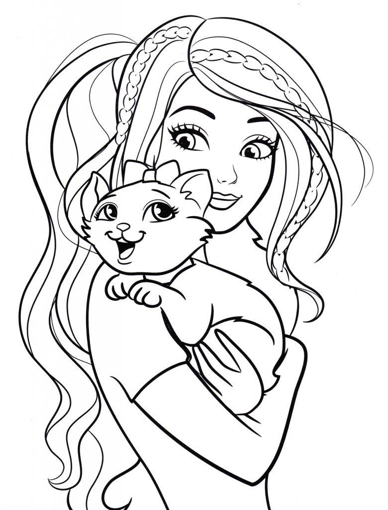 Барби с кошечкой Мари - Барби - Раскраски антистресс