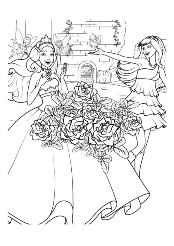 Раскраски «Барби с феями», чтобы распечатать в хорошем качестве