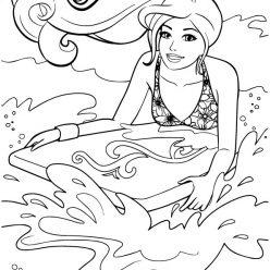 Раскраски «Барби на доске для серфинга», чтобы распечатать в хорошем качестве