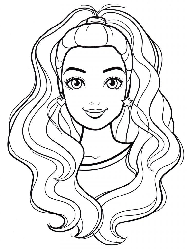 Раскраски «Портрет Барби» для девочек, чтобы распечатать в хорошем качестве