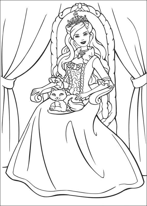 Раскраски «Барби Королева на троне», чтобы распечатать в хорошем качестве