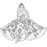 Раскраски «Барби в красивом бальном платье», чтобы распечатать в хорошем качестве