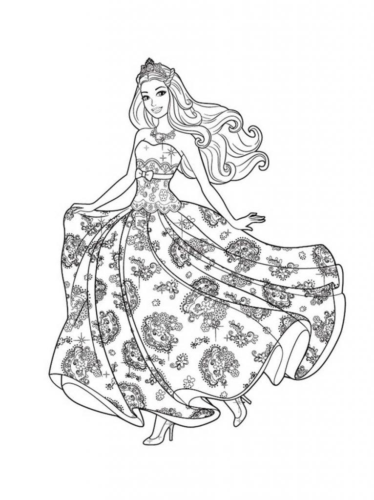 Раскраски «Кукла Барби в пышном красивом платье» для девочек, чтобы распечатать в хорошем качестве