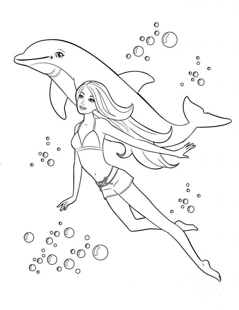 Раскраски «Барби плавает с дельфином» для девочек, чтобы распечатать в хорошем качестве