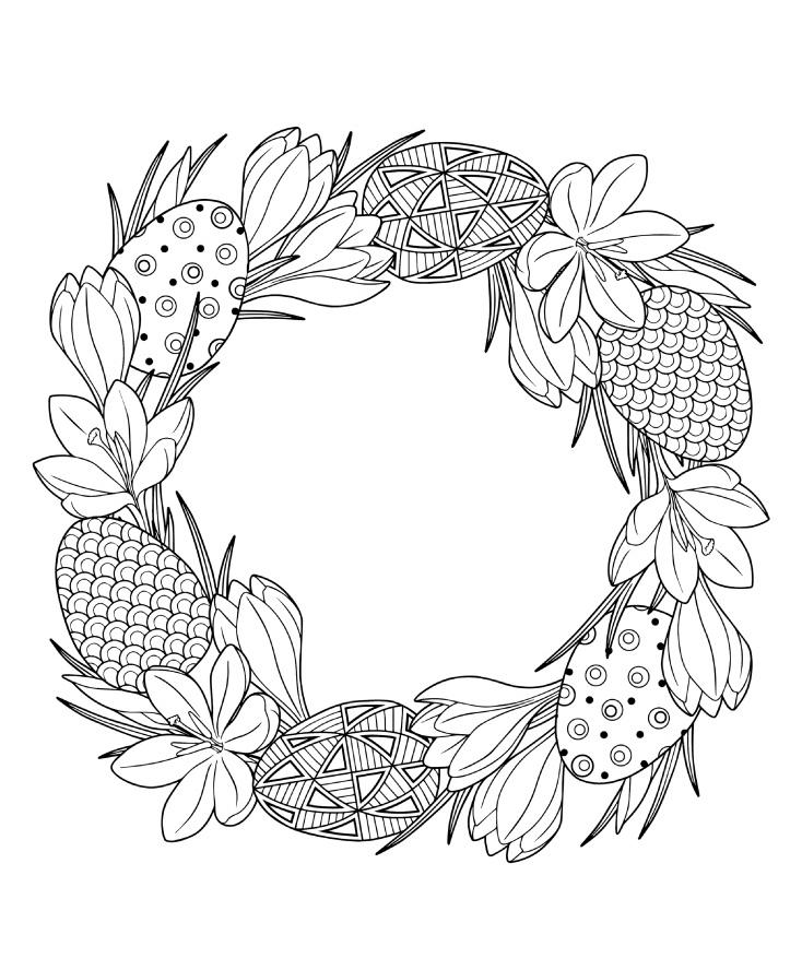 Раскраски праздник Пасха «венок из пасхальных яиц», чтобы распечатать