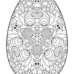 Раскраски праздник Пасха для детей «Пасхальное яйцо со сложным рисунком», чтобы распечатать