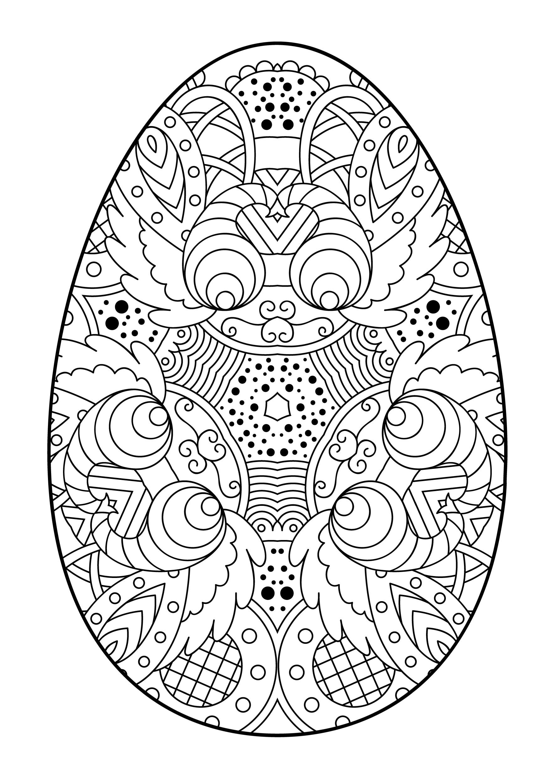 пасхальное яйцо со сложным рисунком праздники раскраски