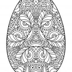 Раскраски праздник Пасха для детей «Яйцо с узором на Пасху», чтобы распечатать