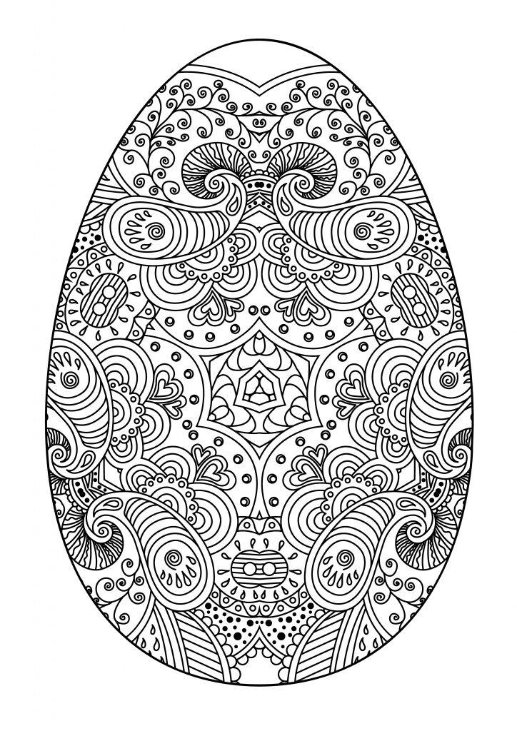 Раскраски праздник Пасха для детей «Разрисованное яйцо на Пасху», чтобы распечатать