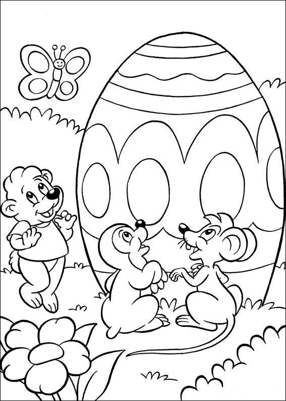 Раскраски праздник Пасха для детей «пасхальное яйцо и животные», чтобы распечатать