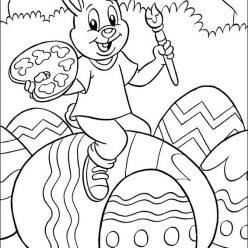 Раскраски праздник Пасха для детей «зайчик разукрашивает пасхальное яйцо», чтобы распечатать