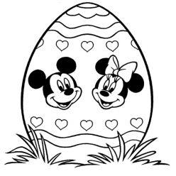 Раскраски праздник Пасха для детей «Пасхальное яйцо и Микки Маус», чтобы распечатать
