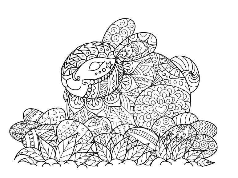 Раскраски праздник Пасха для детей «Пасхальный кролик», чтобы распечатать