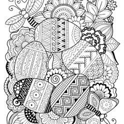 Раскраски праздник Пасха для детей «Пасхальная композиция», чтобы распечатать