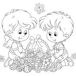 Раскраски праздник Пасха для детей «Дети с пасхальной корзиной», чтобы распечатать
