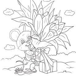 Раскраски к празднику Открытка бабушке с 8 марта, чтобы распечатать