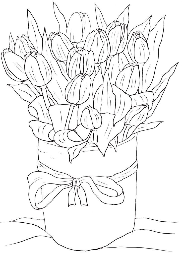 Раскраски к празднику «8 марта» цветы тюльпаны, чтобы распечатать