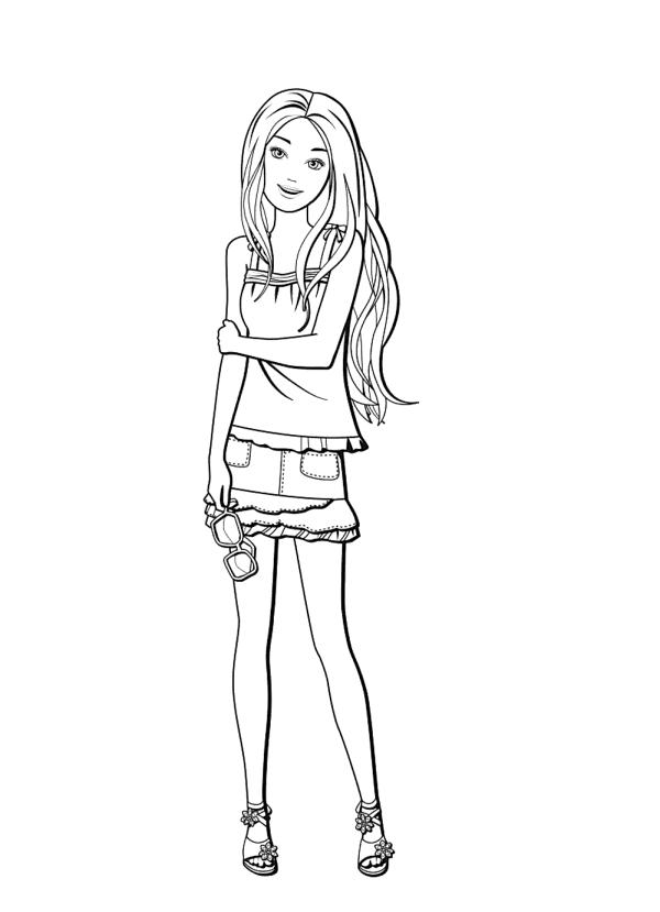 Раскраски для девочек Барби тинейджер, чтобы бесплатно распечатать