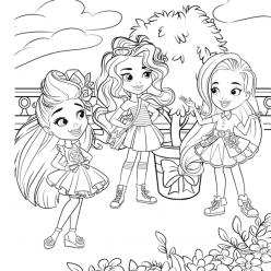 Раскраски для девочек Куколки в саду «Hairdorables», чтобы распечатать
