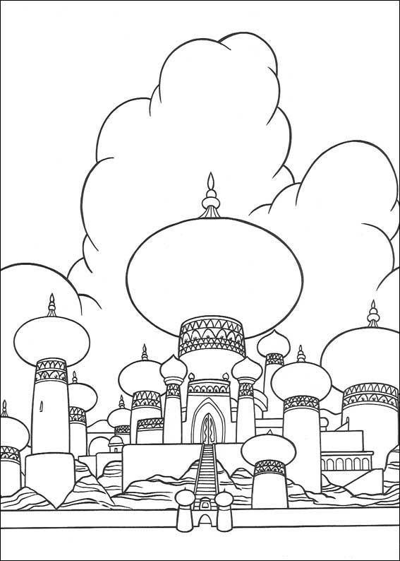 Раскраска принцесса дисней Алладин «Тадж-Махал», чтобы распечатать