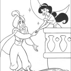 Раскраска принцесса дисней Алладин «Алладин и Жасмин на балконе», чтобы распечатать