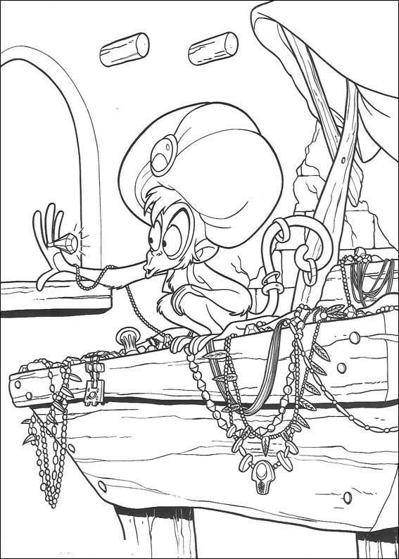 Раскраска принцесса дисней Алладин «Обезьянка Абу с сокровищами», чтобы распечатать