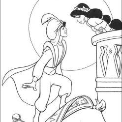 Раскраска принцесса дисней Алладин «Свидание Жасмин и Алладина», чтобы распечатать