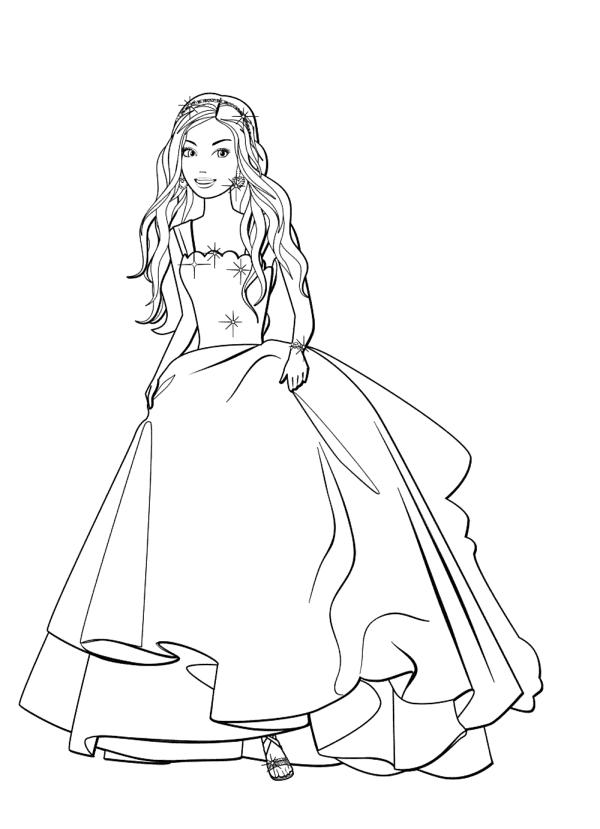 Раскраска для девочек «Барби на выпускном», чтобы распечатать