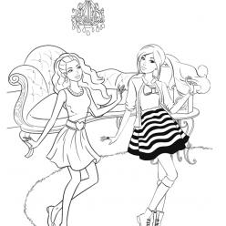 Раскраска для девочек «Вечеринка у Барби дома», чтобы распечатать