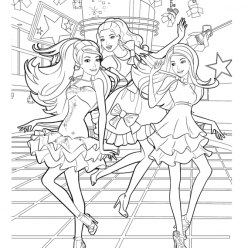 Раскраска для девочек «Барби с подружками на дискотеке», чтобы распечатать