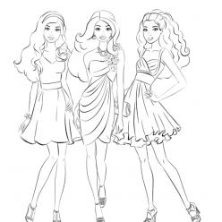 Раскраска для девочек «Подружки куклы Барби», чтобы распечатать