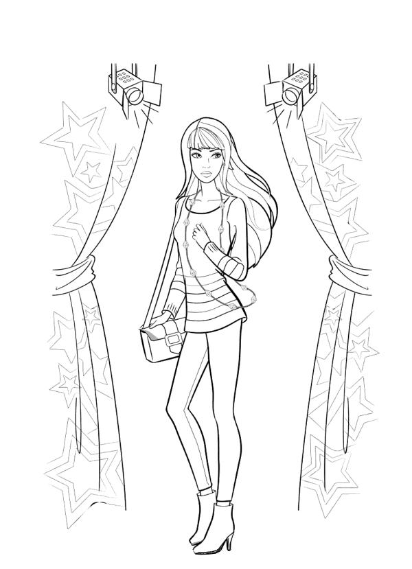 Раскраска для девочек «Барби звезда», чтобы распечатать бесплатно